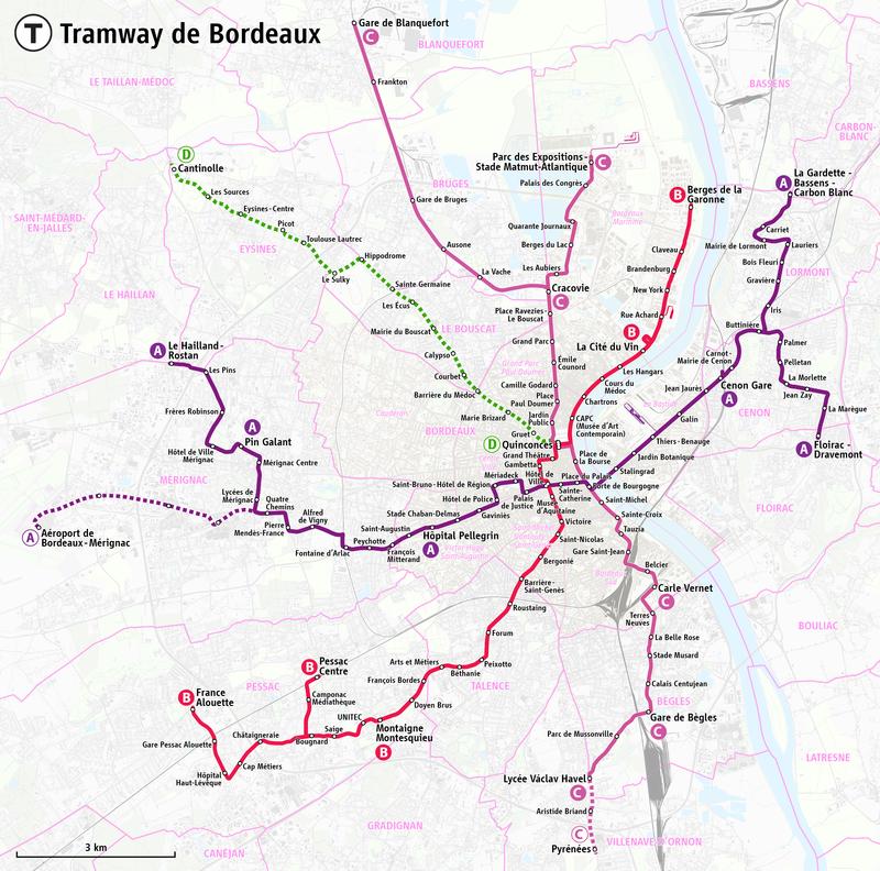 Bordeaux Tramway Map